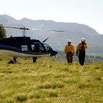 Fire crews flew Sunday checking on the fire. There was a larger chopper dropping water to stop fire movement into unwanted areas.