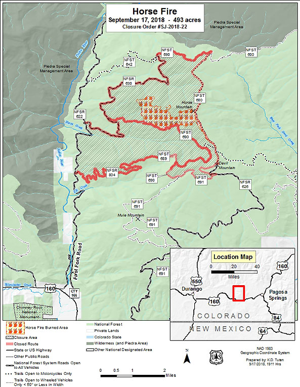 Map of Horse Fire Closure Area | Pagosa Springs Journal
